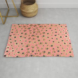 Chic Faux Gold and Black Cheetah Print on Coral Rug