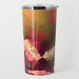 IT'S A ROSE COLORED LIFE 2 - Colorful Floral Garden Chic Abstract Pink White Olive Green Painting Travel Mug