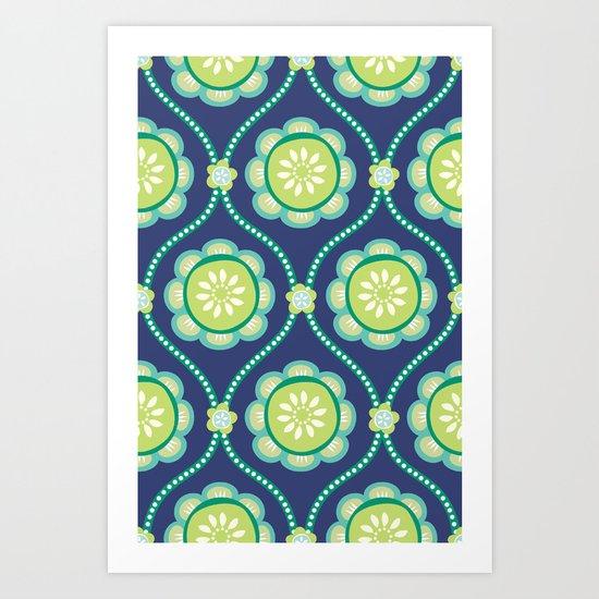 Citrus Flowers Blue Art Print