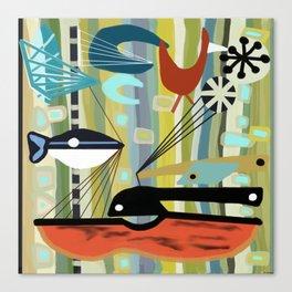 Mid Century Modern Fish Art Canvas Print