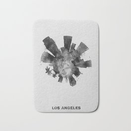 Los Angeles, California Black and White Skyround / Skyline Watercolor Painting Bath Mat