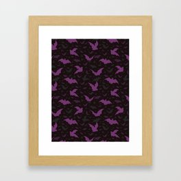 Flying Purple Halloween Bats Vector Pattern Framed Art Print