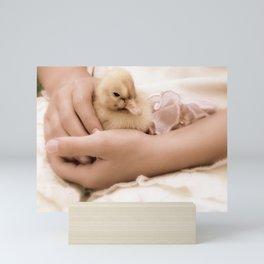 Duckling in Hand Mini Art Print