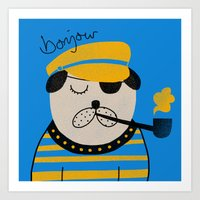 bonjour Art Prints featuring Bonjour by Farnell