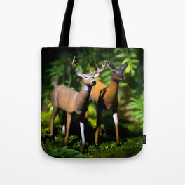 Buck and Doe Deer in the Forest Tote Bag