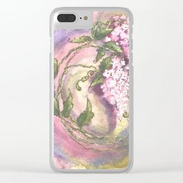Pink Circle of Lilacs Clear iPhone Case