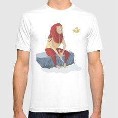 henon and his bird MEDIUM Mens Fitted Tee White