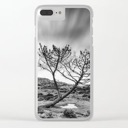 Windy day on the mountain Clear iPhone Case