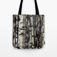birch Tote Bags featuring Birch by LeahOwen