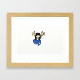 blue the deer girl Framed Art Print