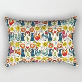 Swedish folksy cats and birds Rectangular Pillow