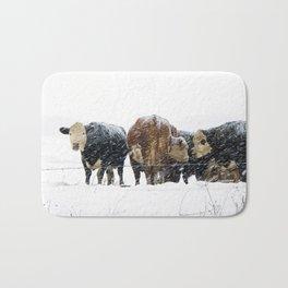 Cattle in a Snowstorm in SouthWest Michigan Bath Mat