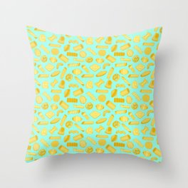 Italian Restaurant Pasta Shapes Food Pattern in Blue Throw Pillow