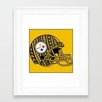 steelers Framed Art Prints featuring Polynesian style Steelers by Lonica Photography & Poly Designs