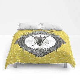 Queen Bee | Vintage Bee with Crown | Honeycomb | Comforters