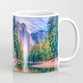 Mountain landscape with forest and river Coffee Mug