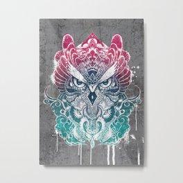 Owl and dragon colored Metal Print