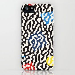 Retro Jumble Black and White Drips And Color Polygons Pattern Abstract Seamless Background iPhone Case