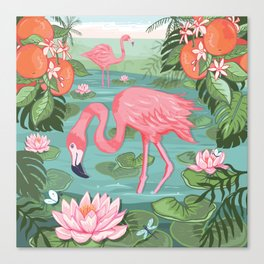 Flamingo and Waterlily Canvas Print