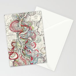 Beautiful Vintage Map of the Mississippi River Stationery Cards