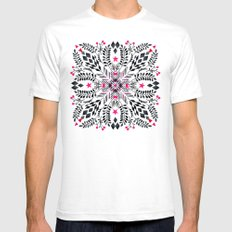 Winter Graphic Folk Art Pattern Mens Fitted Tee White SMALL