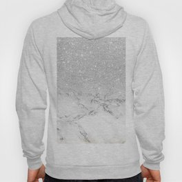 Modern faux grey silver glitter ombre white marble Hoody