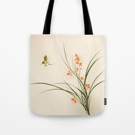 Oriental style painting - orchid flowers and butterfly 003 Tote Bag