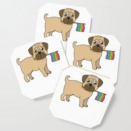 Pug Gifts Gay Pride Flag LGBT Equality Shirt Love Pug TShirt Coaster