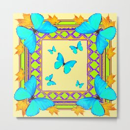Decorative Cream & Turquoise Butterfly Art Metal Print