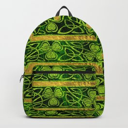 Irish Shamrock -Clover Gold and Green pattern Backpack