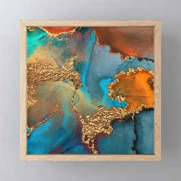 Abstract Blue And Gold Autumn Marble Framed Mini Art Print