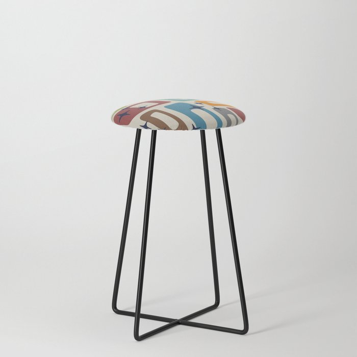 Retro Mid Century Modern Abstract Pattern 224 Counter Stool