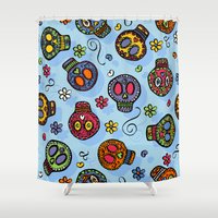 sugar skulls Shower Curtains featuring Sugar Skulls by Kara Peters