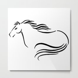 Swift Mare Stylized Inking Metal Print