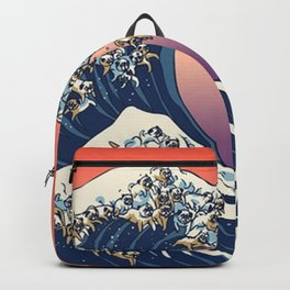 The Great Wave of Pug Red Backpack