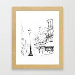 Sketch of a Street in Paris Framed Art Print