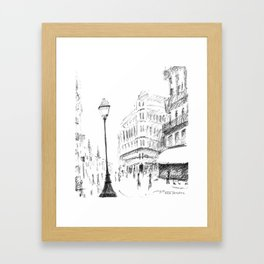 Sketch of a Street in Paris Framed Art Print