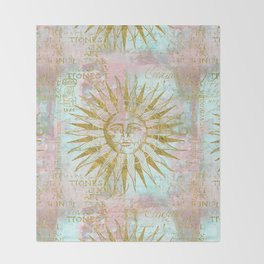 Golden Sun elegant vintage pattern Throw Blanket