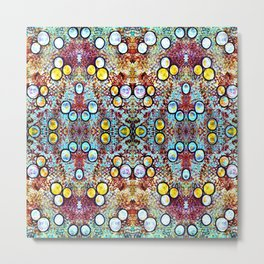 Colorful Gold Circles Pattern Metal Print