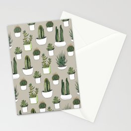 Watercolour cacti & succulents - Beige Stationery Cards