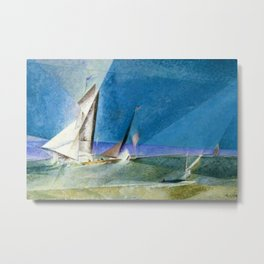 Sailboats, America's Cup by Lyonel Feininger Metal Print
