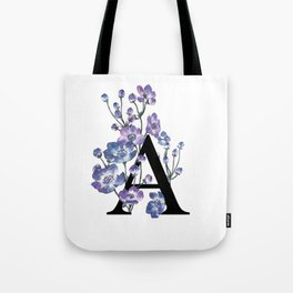 Letter 'A' Anemone Flower Typography Tote Bag