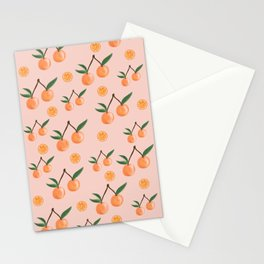 Fruity Oranges Pattern in Peach Pink  Stationery Cards