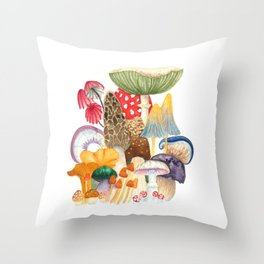 Woodland Mushroom Society Throw Pillow