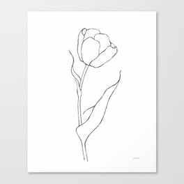 Single tulip line drawing. Black and white contour sketch. Canvas Print