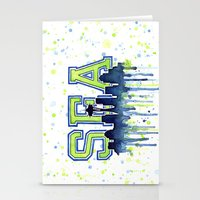 seahawks Stationery Cards featuring Seattle 12th Man Art Watercolor Space Needle Painting  by Olechka