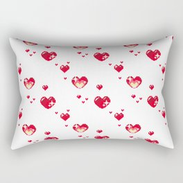 Pixel Heart Pattern Rectangular Pillow