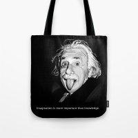 einstein Tote Bags featuring Einstein by Michelena