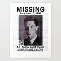 dale cooper Art Prints featuring Missing Dale Cooper ... 2016 by Allelujah