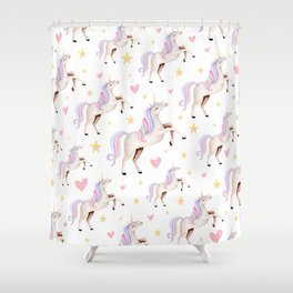 Rainbow Unicorns — Hearts & Stars Shower Curtain